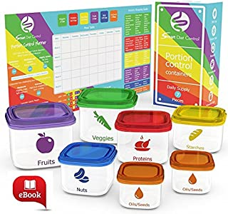 Smart Diet Control 7-Piece Leak-Proof Microwave and Dishwasher Safe Portion Control Container Kit with Meal Planner Complete Guide and eBook, Multi-color Lids