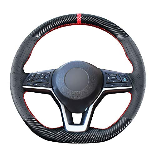 Carkooler DIY Stitching Carbon Fiber Steering Wheel Cover for Nissan Rogue 2017-2020 / Leaf Kicks 2018-2020 / Altima 2019-2021 / Sentra Versa 2020 2021 15 inches Leather Interior Accessories