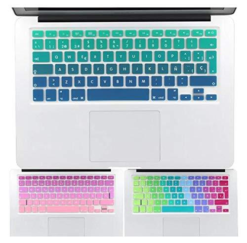 Película de silicona para teclado Europeo español inglés ruso impermeable y a prueba de polvo teclado de color cambiante cubierta protectora para Macbook Air Old 13 Protección del teclado de la comput