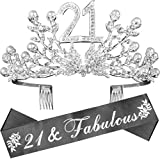 21st Birthday Gifts for Women, 21st Birthday Decorations Party Supplies, 21st Birthday Tiara and Sash, 21st Black Satin Sash It's My 21st Birthday, 21st Birthday Party Supplies and Decorations