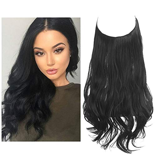 Black Hair Extension Halo Curly Long Synthetic Hairpiece for Women Jet Black 18 Inch 4.2 Oz Hidden Wire Headband Heat Friendly Fiber No Clip SARLA(M01&1B)