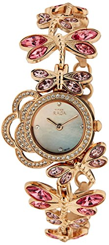 Titan Raga Swarovski Crystal, Mother of Pearl Dial, Gold/Silver/Brass Metal, Jewellery Design, Bracelet Style, Designer, Quartz Glass, Water Resistant Wrist Watch
