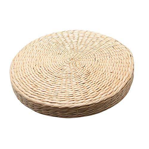 Cojín de hierba tejida, cojín de asiento de tatami, cojín de paja hecho a mano, cojín de piso de yoga, almohada de meditación para decoración del hogar, jardín, comedor (beige)