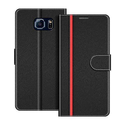 COODIO Handyhülle für Samsung Galaxy S6 Handy Hülle, Samsung Galaxy S6 Hülle Leder Handytasche für Samsung Galaxy S6 Klapphülle Tasche, Schwarz/Rot