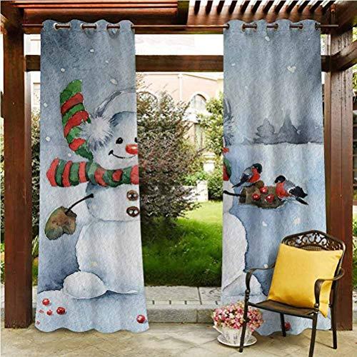 ScottDecor Snowman Pergola Outdoor Drapes for Pergola/Sunroom Watercolor Style Snowfall Outdoors Merry Christmas Theme Winter Bullfinch Birds Multicolor 84' W by 84' L(K214cm x G214cm)
