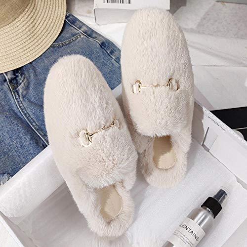 MDCGL Zapatillas De Animales,Zapatillas de Mujer cálidas de otoño e Invierno, Zapatos de Felpa borrosos para Interiores y Exteriores para Mujer Blanco 1 EU 35