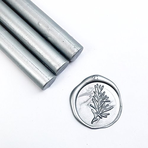 UNIQOOO Mailable Glue Gun Sealing Wax Sticks for Wax Seal Stamp - Metallic Silver, Great for Christmas Cards, Wedding Invitations, Cards Envelopes, Snail Mails, Wine Packages, Gift Ideas, Pack of 8