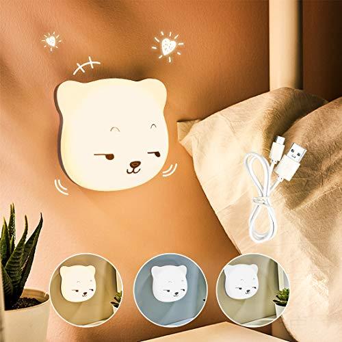 Etmury LED Nachtlicht Kinder, 3M Nachtleuchte Baby Touch Lampe für Schlafzimmer, Nachttischlampen mit Gelbem & Weißem Licht & Touch Schalter, Nachtlampe für das Lesen, Schlafen und Entspannen (Sohn)