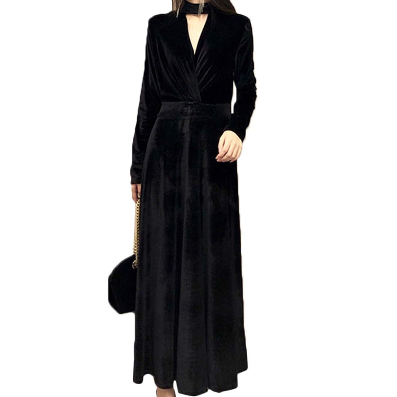[CAIXINGYI]秋 冬 気質 ウエスト スリム Vネック ハンギングネック ゴールドベルベット ドレス 冠婚葬祭 ロングスリーブ ロングスカート ヘプバーン リトルブラックドレス アンダースカート
