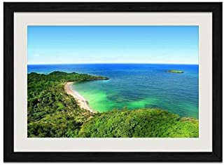 Tropical Beach island - Art Print Wall Black Wood Grain Framed Picture(16x12inch)