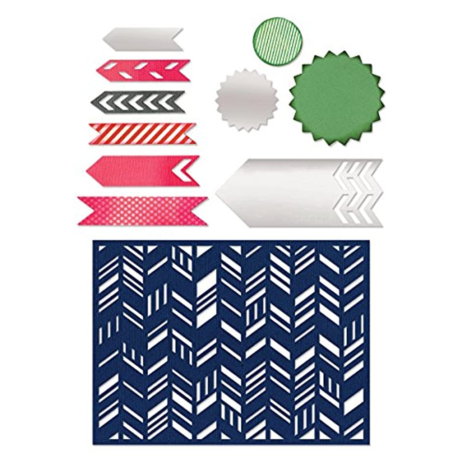 Sizzix Fancy Chevron Card Front/Layering Shapes Thinlits Dies, 1-Pack