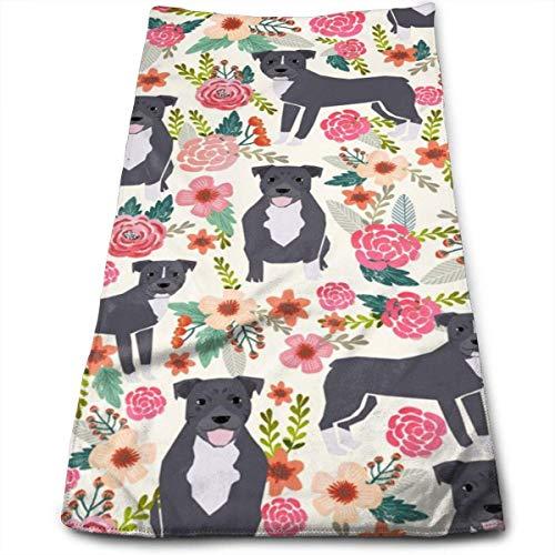 Pitbull Pitbull Terrier Pitbulls Florals Blumen Süße Hunde Rettungshund Handtücher Geschirrtuch Floral Leinen Handtücher Super weiches Extra-Saugmittel für Bad, Spa und Fitnessstudio 11,8