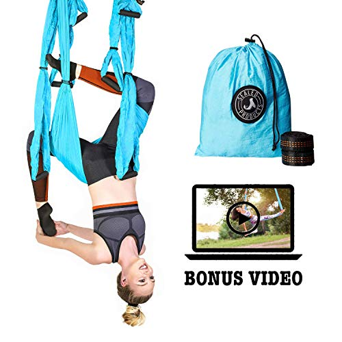 Sealed Products Aerial Yoga Swing – Premium Yoga Trapeze Set for Aerial Yoga Hammock Activities – Swing for Balance Flexibility and Back Pain Relief – Daisy Chains Included