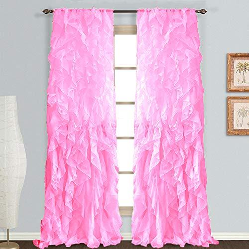"""DiamondHome 1 Panel Waterfall Shabby Chic Sheer Ruffled Curtain Panel (Light Pink, 50"""" X 95"""")"""