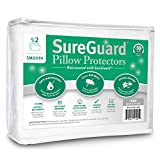 Set of 2 Standard Size SureGuard Pillow Protectors - 100% Waterproof, Bed Bug Proof, Hypoallergenic - Premium Zippered Cotton Covers - 10 Year Warranty - Smooth