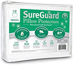 Set of 2 King Size SureGuard Pillow Protectors - 100% Waterproof, Bed Bug Proof, Hypoallergenic - Premium Zippered Cotton Covers - Smooth