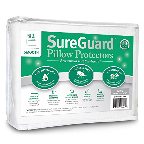 Set of 2 King Size SureGuard Pillow Protectors - 100%...