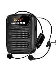 Amplificador de voz inalambrico Bluetooth con 2 micrófonos, 15W altavoz amplificador portátil Inalámbrico multifuncional de 2500 mah recargable de para profesores, aulas, exteriores, interiores ect
