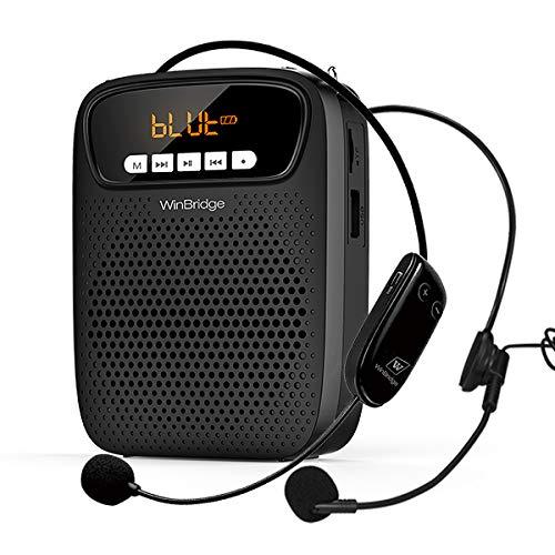 Amplificador de voz inalambrico Bluetooth con 2 micrófonos, altavoz...
