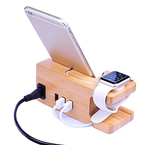 Apple Watch Soporte, XPhonew Bamboo 3 USB HUB iPhone Charger Soporte Charging Docking Station Holder Display Cradle para iPhone XS MAX XR X 8 7 6S 6 Plus iWatch 2 3 4 42mm y 38mm Samsung Smartphones