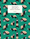 2020 Weekly Planner Ferret: Dated With To Do Notes And Inspirational Quotes - Ferrets In Green (Cute & Adorable Calendar Diary Book)