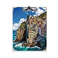 クリップボード A4 農場の家の装飾 子供の贈り物バインダー 崖によるイタリアの地中海の家劇的な天気海チンクエテッレプリント A4 タテ型 クリップファイル ワードパッド ファイルバインダー 携帯便利マルチ