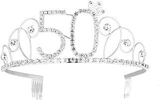 Frcolor Happy Birthday 50th Silver Crystal Rhinestone Tiara Crown