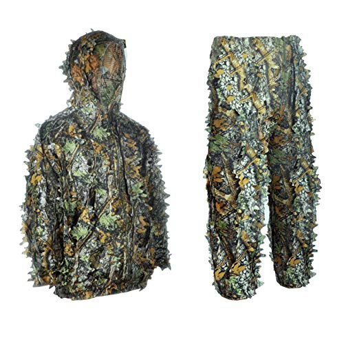 3D Leaf Ghillie Suit Ghillie Jackets and Pants Camouflage Clothing Hooded Hunting Suits for Children Youth Adult Airsoft Paintball Shooting Airsoft Wildlife Photography Halloween (Small, Camouflage)