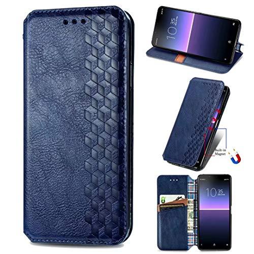 Funda para Samsung Galaxy A71 5G, a prueba de golpes, de piel sintética, con soporte para tarjeta y soporte magnético oculto, con función atril azul azul Samsung Galaxy A71 5G