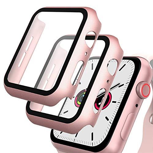 GeeRic 2PCS Pellicola Vetro Temperato Compatibile per Apple Watch 40mm Serie 6 5 4 SE Cover Anti-Urti Pellicola Copertura Completa Custodia Compatibile per Apple Watch 40mm Serie 6 5 4 SE Rosa-Oro