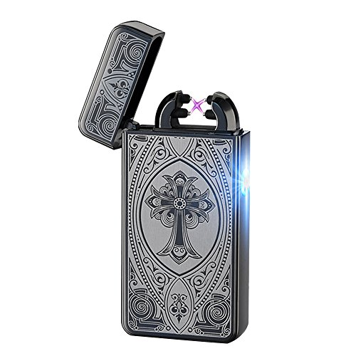 Cideros USB Rechargeable Double Electronic Pulse Arc Cigarette Lighter Windproof Flameless No Gas Cigar Lighter Ignition, Style 7