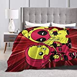 LXLXLX Pikachu Deadpool Anime Throw Blanket Flannel Fleece Blankets Lightweight Super Soft for Couch Bed 80'X60'