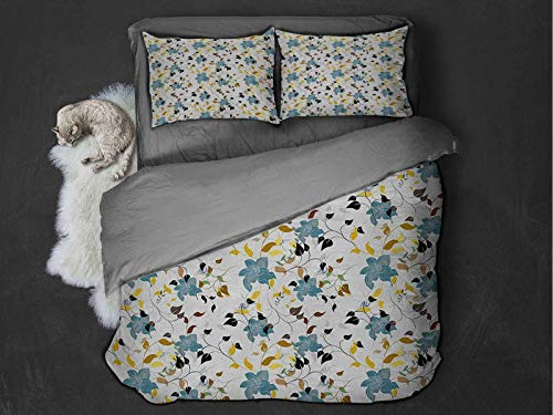 Floral Comfort Luxurious Softest Premium Bed Sheet Set Nature Inspired Vivid Colored Image Environmental Imagery Numerous Sizes of Leaves Anti-wrinkle and anti-fading (Full) Multicolor