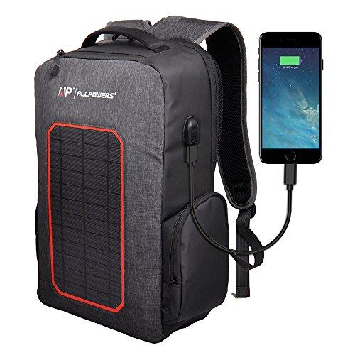 ALLPOWERS Cargador Solar de Mochila Bolsa con 7W Solar Portátil, 6000mAh Batería Cargador para iPhone, Samsung Galaxy, iPad Air/Mini, Cámara, Dispositivos Digitales