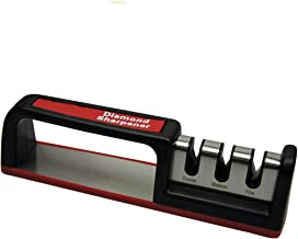 Gaorui Knife Sharpener 3 Stage Diamond Coated Sharpening Wheel System for Straight Serrated Knives Black