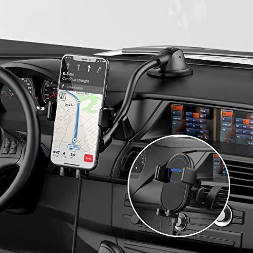 Mpow Kabelloses Auto Ladegerät Handyhalterung,Qi Handyhalter fürs Auto 2 in 1 Amaturenbrett+Lüftung Kfz Induktive Ladestation Schnellladegerät,7,5W für iPhone,10W für Galaxy,5W für Allen QI Handys
