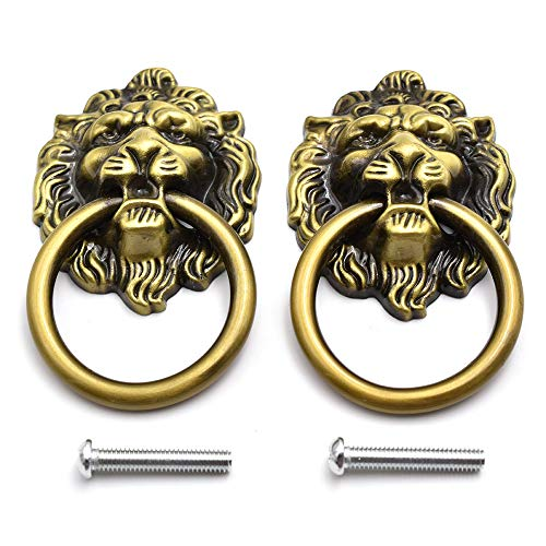 Antique Bronze Lion Head Knob Pull Handle 2.64 X 1.57 Inch Zinc Alloy Drawer Pull Ring for Cabinet, Dresser and Door (2 Pack)