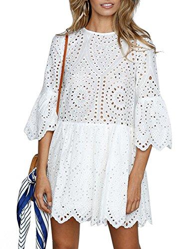 Missy Chilli Damen Kleid Kurz Sommer Elegant Langarm O Ausschnitt Baumwolle Spitze Mini Kleid Knielangkleid Dress mit Trompetenärmel Weiß