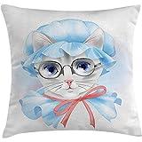 Fodera per cuscino per cuscino da lancio per gatto, nonna nonna vecchio gattino con pigiama e occhiali da lettura vecchio stile, federa per cuscino, grigio rosa blu, 45X45 cm