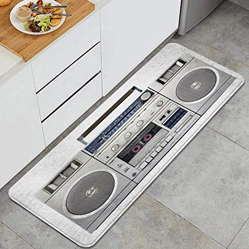 PANILUR Alfombras para Cocina Baño de Cocina,Altavoz Que Escucha Radio Plateada Boom Box Tecnología de Cassette DJ Cinta Vintage Estéreo Retro Blanco,para Dormitorio Baño Antideslizantes