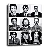 Musician Mugshots Canvas Wall Decor 16x20 - Vintage Poster Print Gift for Music Fans, Prince, Frank Sinatra, David Bowie, Mick Jagger, Elvis, Jim Morrison, Janis Joplin, Jimi Hendrix, Johnny Cash Fans
