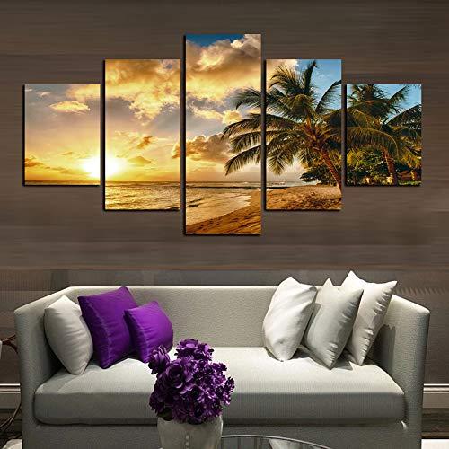 KANGZEDT Pintura sobre lienzo - 5 piezas 150*80CM Paisaje de árbol de coco de playa al atardecer Cuadros en Lienzo Decoracion de Pared 5 Piezas Modernos Mural Fotos para Salon Dormitorio Pintura Sobre