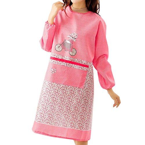 Pinji かっぽう着 かっぽうぎ 割烹着 保育士 料理エプロン ワンピース おしゃれ かわいい ガーデニング チェック ギフト プレゼント (ピンク)