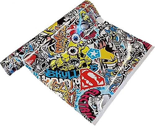 Neoxxim 24,22€/m2 Premium - Auto Folie - Stickerbomb Folie Skull BUNT 30 x 150 cm - JDM Dub Klebefolie - blasenfrei mit Luftkanälen ca. 0,16mm dick selbstklebend flexibel