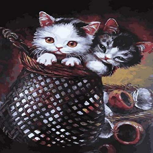 SHILLPS Kätzchen Im Korb Acrylfarbe Nach Zahlen Ölgemälde Geschenk Färbung Nach Zahlen Bild an Der Wand Dekor Kein Rahmen