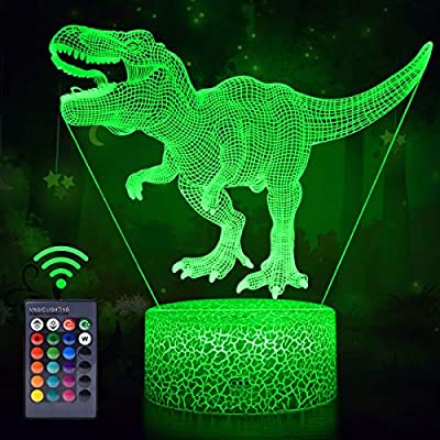 Koicaxy Dinosaur Toys, 3D Dinosaur Night Light with Remote & Smart Touch 7 Colors + 16 Colors Changing Dimmable T Rex 3D Night Light Birthday Gifts for Boys Kids Age 2 3 4 5 6+ Year Old Boy