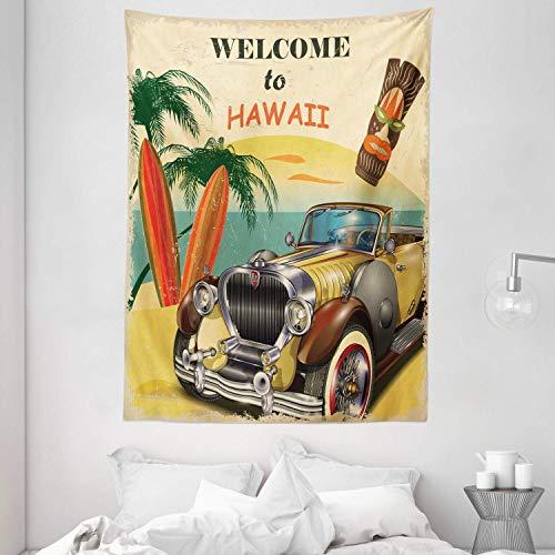 Tapizdedecoracióndeladécadade1960Tapizdepared,BienvenidoaHawaiiRetroAmericanPopArtPrintconmáscaratribaldepalmerasenvejecidasytablasdesurf,dormitorio,saladeestar,dormit