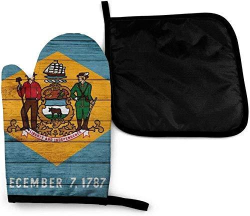 Textura de madera de la bandera del Estado de Dakota del Sur - Manoplas de horno y soportes para ollas - Set de fundas de aislamiento térmico - alfombrilla de manoplas antideslizantes para barbacoa
