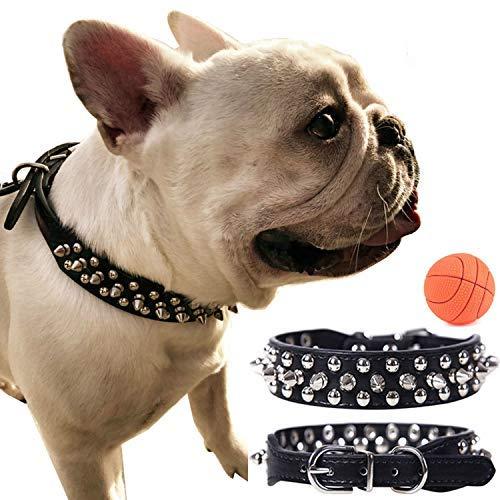 teemerryca Spiked Hundehalsbänder aus Leder schwarz große Hundehalsbänder für Rottweller Cane Corso Deutsche Dogge Frenchie Bulldog-Halsbänder Einstellbare Hundehalsbänder 45cm-52cm