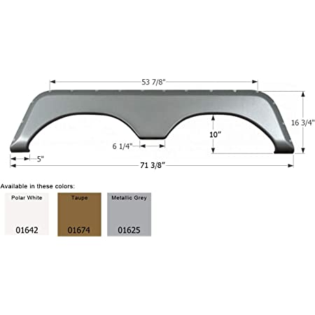 Icon Technologies Limited 12134 RV Skirts /& Mudflaps Fender Skirt, Tandem, Kaddy Kruiser, Fs2134, Polar White